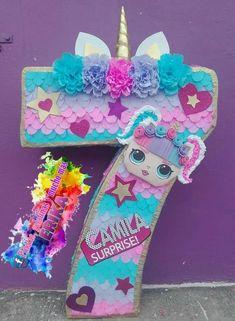 How To Make Pinata, Mini Pinatas, Pinata Party, Lol Dolls, Unicorn Party, Paper Decorations, Party Themes, 3 D, Birthday Parties