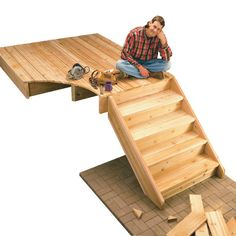 DIY - step by step - how to build deck stairs - In this story, we'll make it easy by showing you how to estimate step dimensions, layout and cut stair stringers, and assemble the stair parts. The Family Handyman, Stair Stringer Calculator, Outdoor Projects, Home Projects, Eco Deco, Stairs Stringer, Deck Steps, Wood Steps, Building Stairs