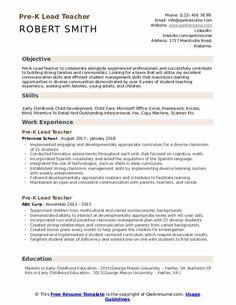 7 Pre K Teacher Resume 3 Teacher Resume Template, Resume Templates, Best Resume Format, Sample Resume, Home Health Nurse, Nursing Resume, Paralegal, Job Description, Communication Skills