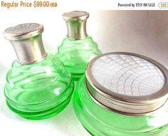 SALE 20's Green Glass Dresser Set Guilloché Silver Lids
