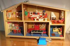 RARE Vintage Fully Furnished Danish Modern Lundby of Sweden Electric 2 Story | eBay