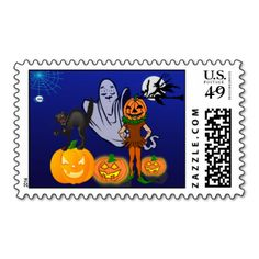 Great for sending all your mail during Halloween.The scene shows a child out trick or treating with a pumpkin head and pumpkins all round. On one of them stands a spitting fiendish cat and behind the child is a spooky ghost. An eerie spider with demonic red eyes is dangling from its glowing web in the corner and a witch is abroad on her broomstick, silhouetted by the bright full moon. Beware she doesn't catch you with one of her spells!