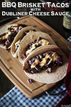 BBQ Brisket Tacos with Dubliner Cheese Sauce via GirlCarnivore.com