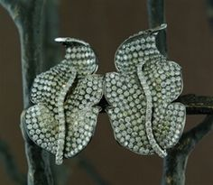 CHURCHILL Private Label Yellow and White Diamond Leaf Earrings in 18K White Gold