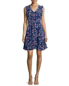 TCENN Rebecca Taylor Kyoto Sleeveless Floral-Print Dress