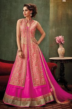 Hot #pink & #gold embroidered raw silk & net #dazzling #lehenga with long jacket #blouse -GC417