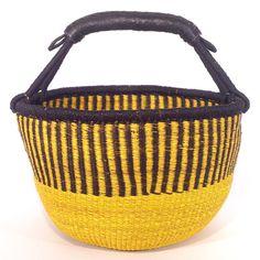 Leather Trim Round Basket - Citrus