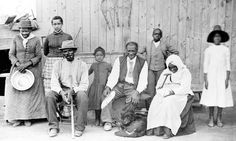 "Harriet Tubman with slaves she helped rescue during the American Civil War, ca. 1885. Left to right: Harriet Tubman; Gertie Davis {Watson} (adopted daughter of Tubman} behind Tubman; Nelson Davis (husband and 8th USCT veteran); Lee Cheney (great-great-niece); ""Pop"" {John} Alexander; Walter Green; Blind ""Aunty"" Sarah Parker; Dora Stewart (great-niece and granddaughter of Tubman's brother Robert Ross aka John Stewart)."