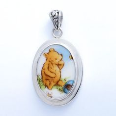 Broken China Jewelry Classic Pooh Bear Winnie The Pooh with a Honey Bee Sterling Pendant