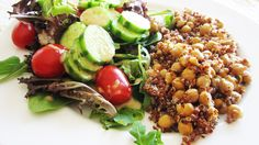 Vegan Quinoa with Roasted Spiced Chickpeas & Pine Nuts | Vegangela