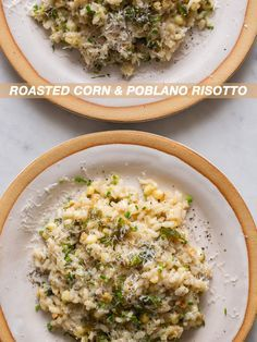 Roasted Corn and Poblano Risotto made with @almondbreeze