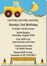 Birthday party invitation for a little boys birthday party with a construction theme