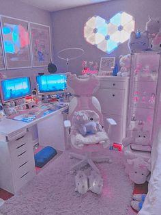 Cute Bedroom Decor, Room Design Bedroom, Room Ideas Bedroom, Pink Games, Gaming Room Setup, Pc Setup, Kawaii Bedroom, Cute Room Ideas, Game Room Design