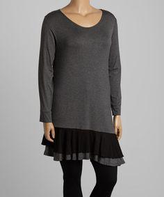 Love this Charcoal & Black Ruffle-Trim Asymmetrical-Hem Tunic - Plus on #zulily! #zulilyfinds