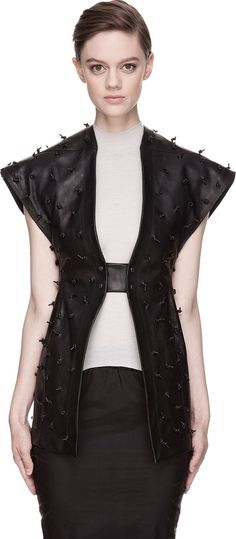 Rick Owens - Black Leather Knot-Studded Carapace Vest