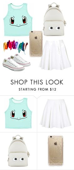 """""""school outfit"""" by naylaputri ❤ liked on Polyvore featuring Topshop, Anya Hindmarch, Rifle Paper Co and Converse"""