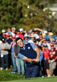Rory McIlroy of Europe plays a shot on the 11th hole during afternoon fourball matches of the 2016 Ryder Cup at Hazeltine National Golf Club on September 30, 2016 in Chaska, Minnesota.