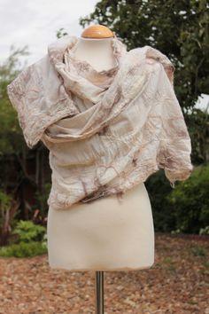 Nuno Felted wool & cotton muslin shawl scarf wrap  by Angelab5705, £69.00
