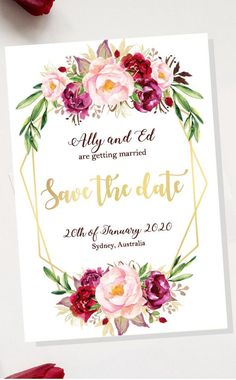 Excited to share this item from my #etsy shop: Wedding Save the Date Card - Floral Design Wedding Announcement - Printable PDF Download - Custom DIY made to order