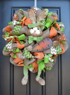 Burlap Easter Bunny Wreath with Carrot