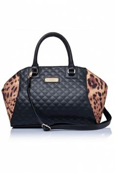 Diamond Check Handbag with Leopard Print