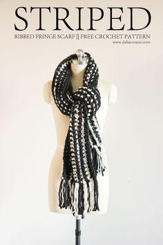 Striped Ribbed Fringe Scarf - Free Crochet Pattern // Delia Creates