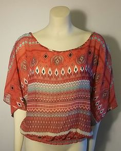 Dream Out Loud Selena Gomez BOHO Batwing Tribal Womens Extra Large Blouse Top…