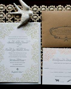 Letterpress Invitation: A lush floral border accents this classic letterpressed design.