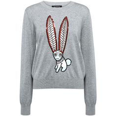 Markus Lupfer - Mexican Hare Embellished Grace Sweater ($385) ❤ liked on Polyvore featuring tops, sweaters, markus lupfer, sequin sweater, embellished tops, bunny sweater and bunny top