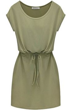 This casual look dress offers comfortable fit which is designed with round neck, cap sleeve, waist drawstring design. Short Green Dress, Green Shift Dress, Olive Dress, Olive Green Dresses, Army Green Shorts, Mode Chic, Mini Dress With Sleeves, Casual Look, White Casual