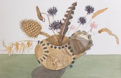 Angie Lewin 'Denise Hoyle Jug with Teasel' watercolour http://www.angielewin.co.uk/collections/original-work/products/denise-hoyle-jug-with-teasel