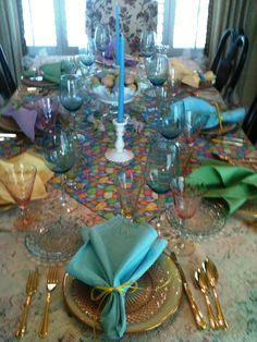 Easter Dining Table With Pastel Glasses Napkins Depression Era Glass Dishes And Milk Ceramic Bunnies Frolic Under The Bowl Of Eggs