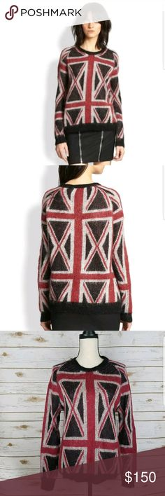 "The Kooples British Flag Mohair Blend Sweater Thin, open knit sweater from The Kooples. British flag print. Mohair blend. Gently worn with no major flaws.    Underarm to underarm: 19""  Sleeve length: 28.75""  Total length: 25""  The Kooples Sweaters"