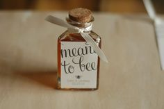 Cute gift idea for guests. Add a local touch by using honey from a local apiary. Bottles and ribbon can be found at Michaels or JoAnns.