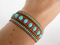 Turquoise and red leather wrap bracelet. $40.00, via Etsy.