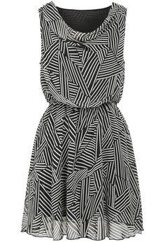 Black Round Neck Sleeveless Striped Chiffon Dress