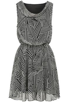 Black Round Neck Sleeveless Striped Chiffon Dress