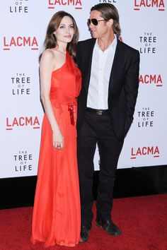 In a Jenny Packham for the LA premiere of Brad's film [i]Tree Of Life[/i].