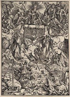 8. DURER, Albrecht (1471-1528) / The Apocalypse [series] #08 of 16 -- The Seven Angels with Trumpets / 1496-98 / woodcut . durer-apocalypse-08