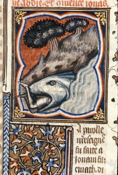 Detail of a miniature of Jonah in the mouth of the big fish (whale).  Origin: France, Central (Paris?), Royal 17 E VII   f. 105