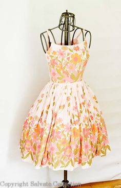 1950s Hand Made Blush Pink Floral Party Dress by SalvatoCollection, $130.00