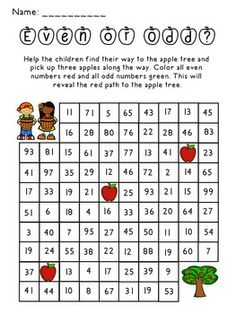 Apple Themed Color by Number Freebie - fun morning work for practicing even and odd numbers.