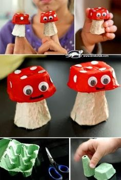 22 AMAZING Egg Carton Crafts is part of Cardboard crafts Egg Cartons - Over 20 amazing egg carton crafts for kids! If you need egg carton craft ideas for any occasion and any age this post is for you Kids Crafts, Toddler Crafts, Easter Crafts, Arts And Crafts, Upcycled Crafts, Crate Crafts, Egg Box Craft, Mushroom Crafts, Egg Carton Crafts