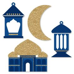 Ramadan Shaped Paper Cut Outs - Small Eid Mubarak Decoration Kit - Ramadan Party. - Ramadan Shaped Paper Cut Outs – Small Eid Mubarak Decoration Kit – Ramadan Party Supplies – M - Eid Crafts, Crafts For Kids, Paper Crafts, Eid Mubarak, Decoraciones Ramadan, Ramadan Lantern, Ramadan Gifts, Big Dot Of Happiness, Graduation Decorations