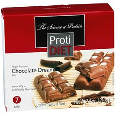 ProtiDiet Low Carb, Sugar Free Chocolate Dream Protein Bar for a high protein snack anytime of day. Similar in taste and texture to a Nestle's Crunch Bar. Sugar Free Protein Bars, Low Carb Protein Bars, Protein Bar Recipes, High Protein Snacks, Ideal Protein, Protein Foods, Whey Protein, Triple Chocolate Muffins, Chocolate Protein Bars