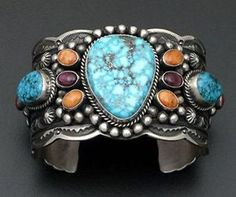 Darrell Cadman Turquoise Mountain Sterling Silver Cuff Bracelet