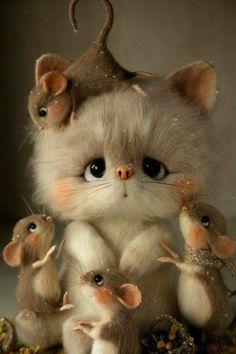 diamond embroidery cat & mouse diamond painting cross stitch mosaic cartoon full square/round diamond decoration home – Betty McQuigg - Baby Animals Cute Animal Drawings, Cute Drawings, Felt Animals, Funny Animals, Animals Images, Zoo Animals, Funny Cats, Pinterest Cute, Animal Pictures
