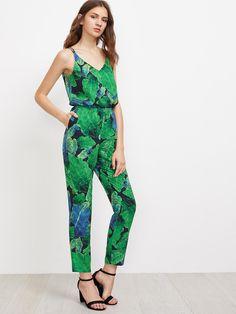 2864f3c7798f SheIn - SheIn Jungle Leaf Print Double Strap Crisscross Jumpsuit -  AdoreWe.com Leaf Prints