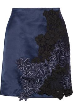 3.1 Phillip Lim Silk-satin and guipure lace mini skirt $625 midnight-blue silk-satin mini skirt gets an elegant touch with delicate guipure lace inserts. It's fully lined to temper the peekaboo trims. Wear this style with bare legs now, opting for tights and ankle boots come winter.  Midnight-blue silk-satin, midnight-blue and black guipure lace Concealed hook and zip fastening at side 100% silk; trim1: 100% polyester; trim2: 61% cotton, 27% nylon, 12% viscose Dry clean