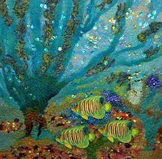 Textile Seascape stitched by Caroline Sharkey  www.carolinesharkey.com.au